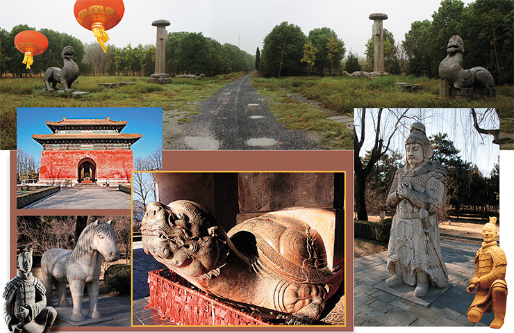 "The ""spirit path"" of one of the burial complexes of the Six Dynasties (220–589 A.D.) in the Danyang municipal district near Nanjing (top). These columns were topped with stone figures of lion-like predators, and there were turtles carrying steles with epitaphs on their backs; statues of warriors and government officials stood on stone pedestals. The road led to a ceremonial pavilion and the mausoleum. Shisanling is a complex of thirteen emperor tombs of the Ming dynasty in Changping district of Beijing. The great red pavilion with a dragon-like stone turtle, bearing a memorial stele on its back, stands at the beginning of the ""spirit path"""