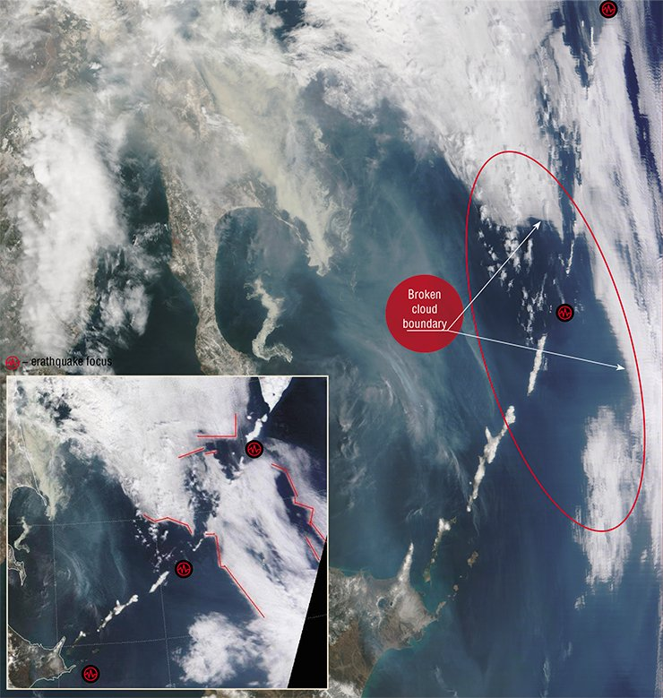 The formation of clear-cut angular cloud boundaries in the northern part of the Kuril Islands preceded the earthquakes that occurred throughout the island range (on May 2, there was an earthquake on the Kuril Islands, on May 3, near the island of Hokkaido). The photo taken from satellite Terra (NASA/GSFC, Rapid Response) on April 30, 2009