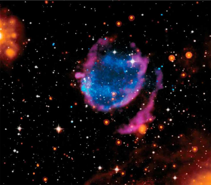 The shape of the remnants of supernova G352.7-0.1 is critically dependent on the range of electromag-netic wavelengths at which the image is taken. The photograph is a collage showing the neighborhoods of this former star: blue corresponds to X-rays; purple to radio wavelengths; orange to infrared; and white to visible (optical) wavelengths. Image credit: X-ray: NASA/CXC/Morehead State Univ/T.Pannuti et al.; Optical: DSS; Infrared: NASA/JPL-Caltech; Radio: NRAO/VLA/Argentinian Institute of Radioastrono-my/G.Dubner http://www.nasa.gov/mission_pages/chandra/multimedia/supernova-cleanup.html