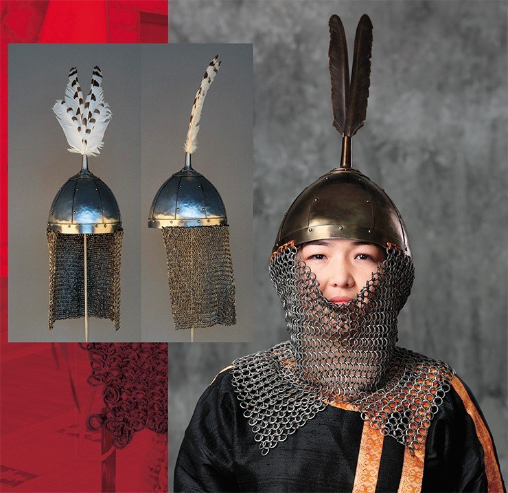 Scholarly historical reconstruction of the helmet of a 12th–14th century Yenisei Kyrgyz warrior, based on an accidental find of a helmet dome in the Minusinsk Basin, now kept at the Kyzlasov Khakass National Museum of Local History (Abakan, Russia), and a chainmail aventail found near the town of Sayanogorsk (now kept in Moscow, in a private collection). Photo by A. Bolzhurov (right). Photo by S. Borisenko (left)