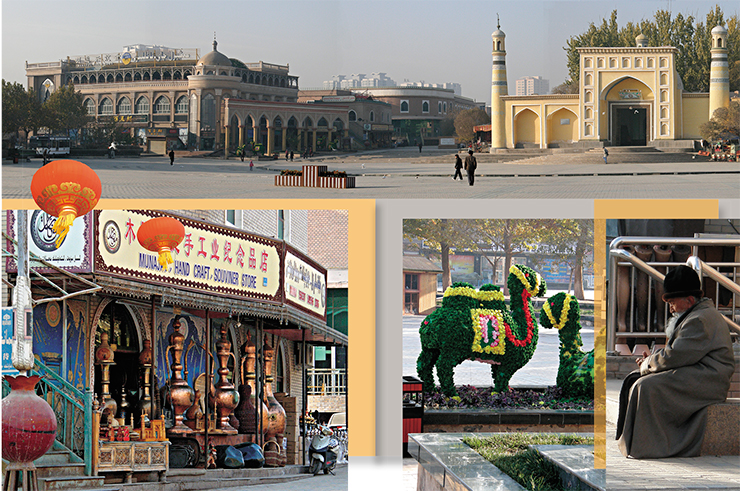 Buildings in the central square of Kashgar bear features typical for medieval architecture of Middle Asian cities of the former Soviet Union. Scenes from the 1001 Nights come to mind when you see huge bronze vessels and or a gray-bearded elder basking in the warm sun. Green camel-shaped flower beds hint at the Great Silk Road, which used to pass through the city