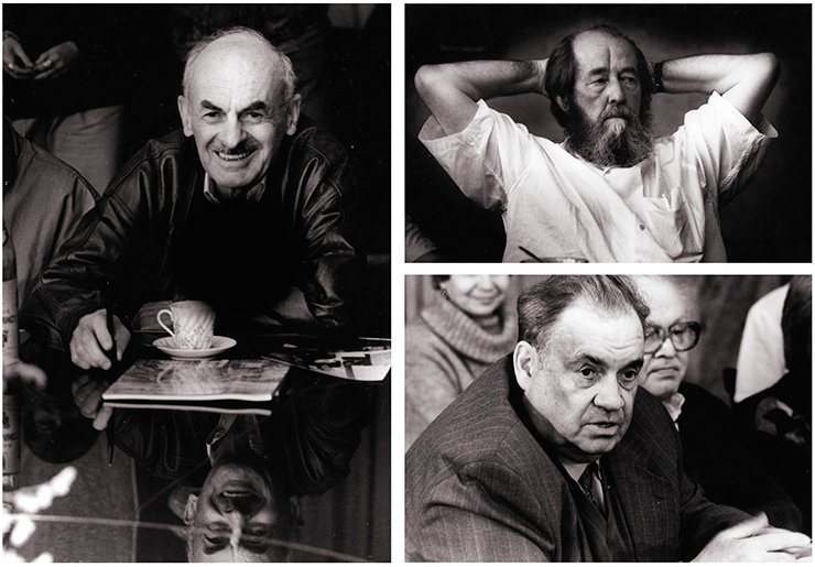 At the famous round table of the Institute of Nuclear Physics—the writer and poet Bulat Okudzhava. September 6, 1993 (left). The writer Alexander Solzhenitsyn at the Institute of Nuclear Physics. June 28, 1994 (upper right). The famous film director Eldar Ryazanov at the Institute of Nuclear Physics. December 12, 1994. SB RAS Photo Archive