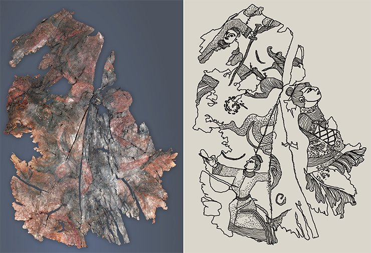 Left: Embroidery on silk. A fragment of outwear. On right: A detailed drawing of images embroidered in a fragment of silk from outwear. Noin Ula burial mound 20