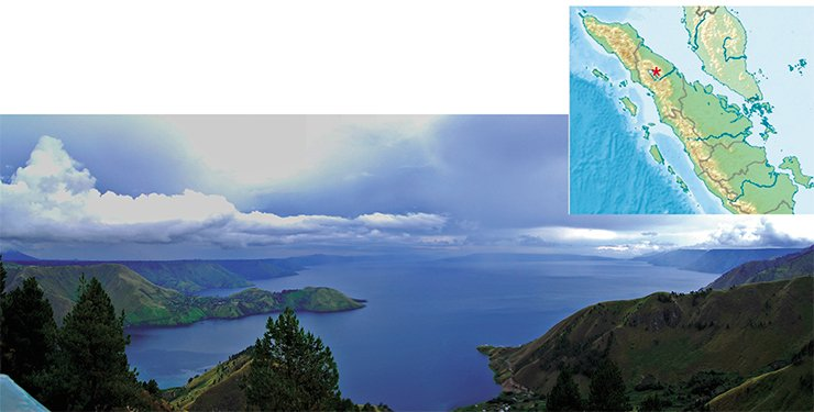 The eruption of Toba Supervolcano in north-central Sumatra, Indonesia, created Lake Toba, the largest volcanic lake on the Earth. © Creative Commons