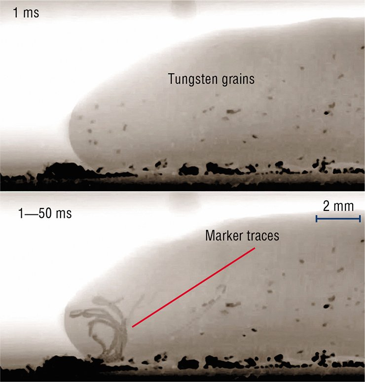 For dynamic imaging (1,000 frames per second) of flows in a steel melt, researchers used tungsten grains as markers during electrode welding. A superposition of the X-ray patterns of the weld, which were obtained within 50 ms, reveals the pattern of eddy currents in the metal and shows that some of the drops have not had time to harden. Courtesy of Diamond Light Source LTD