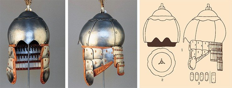 Top: Scholarly historical reconstruction of a helmet (and armor) worn by a Toba Wei warrior of the 6th century, based on a series of helmets recovered from the Lim Chan fortress in Hebei Province (China). These helmets, with a hemispherical top piece and a plume tube, were popular across the steppes of Eurasia throughout the Middle Ages. Photo by S. Borisenko. Bottom: Helmet and aventail of the Toba Wei period from the Lim Chan fortress (Inner Mongolia, China). Adapted from (Gorbunov, 2005)