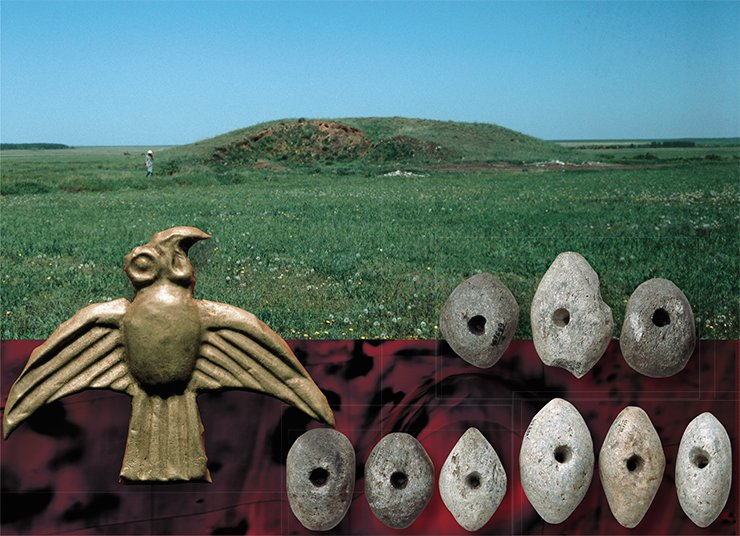 Above: Large tumulus Baikara (Northern Kazakhstan). Below:  Golden plaque in the shape of a bird of prey and stone sinkers for a fishing net, found on the edge of a burial pit of the Scythian time. Large tumulus Baikara (Northern Kazakhstan)