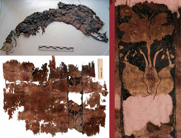 "This piece of tapestry fabric from Tumulus 22, Noin-Ula, which had been rolled up several times and stitched with a thick thread, was in a very poor condition (above). However, after the meticulous effort put by E. V. Karpeeva (SB RAS Institute of Archeology and Ethnography, Novosibirsk) to restore the item, it ""blossomed"" with graceful poppy flowers (right)"