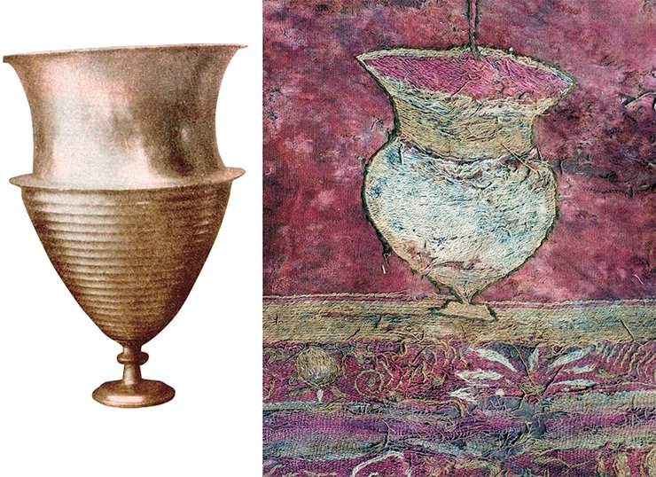 The vessel that collects the filtered wine resembles in its shape a cantharos (a Greek wine vessel of a particular shape) without handles and is close to the silver and bronze vessels discovered in Taxila (right; Marshall, 1951). A similar vessel, except with a lid, was discovered in Gandhara (Miho Museum, 2009)
