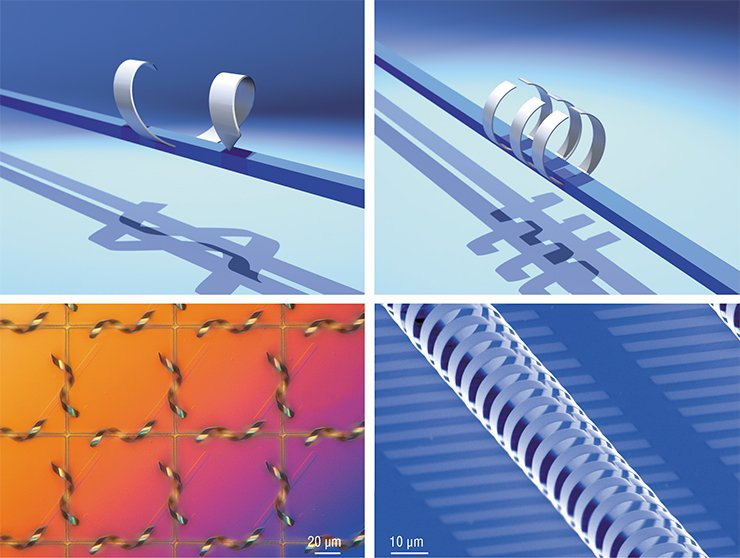 Pictures that show formation of three-dimensional microresonators from strained semiconductor-metal strips detached from the substrate. The technology was developed at Rzhanov Institute of Semiconductor Physics of the Siberian Branch of the Russian Academy of Sciences