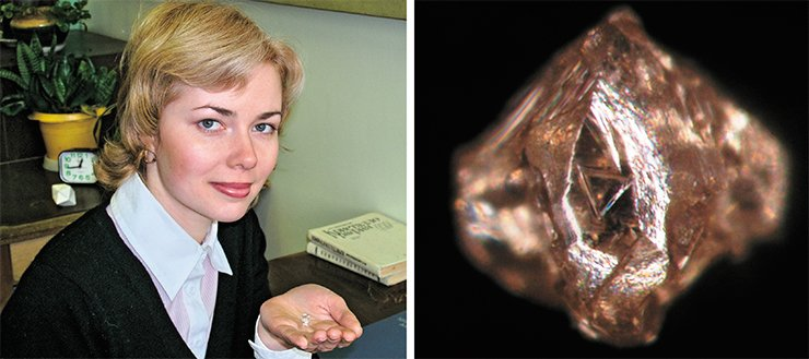 The first diamond crystal (on the right) of the recently discovered Khompu–Maiskoye kimberlite field was found by the junior researcher of DPMGI. K. L. Pirogovskaya. It weighs only 0.003 ct, but scientists and geologists hope to find there larger crystals, comparable with the 7-ct Yakutian diamond stored in the Institute collection (on the left)