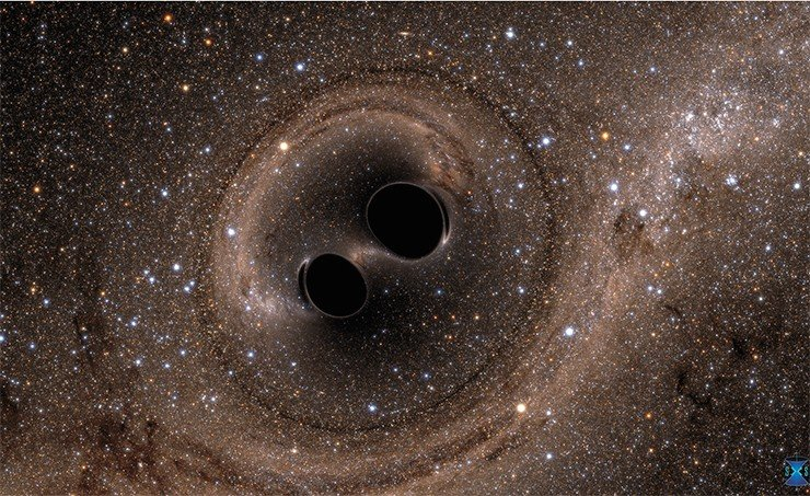 Две черные дыры сливаются в единое целое.Image Credit: the Simulating eXtreme Spacetimes (SXS) project (http://www.black-holes.org)