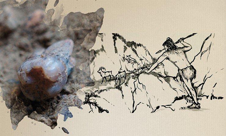 Зуб неандертальца в культурном слое. Чагырская пещера. Фото С. Шнайдер. Рис. А. Абдульмановой. Источник: д/ф «Тигирек: эскизы древней истории»