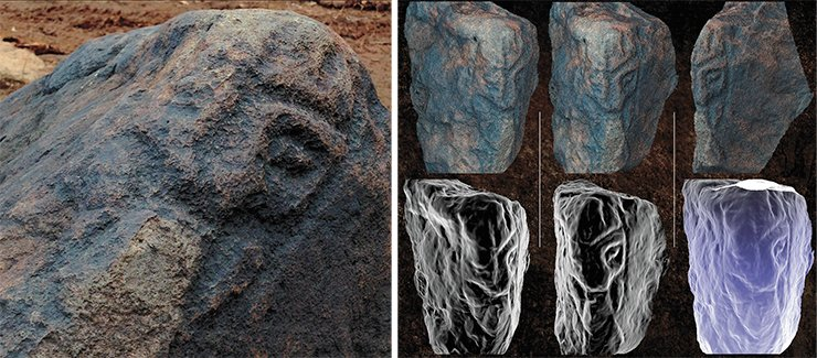 A unique artistic technique mastered by the ancient artists of Sikachi-Alyan is to place an image on the edge between the faces of a stone. This technique, which makes an image look like a bas-relief, is best conveyed by photogrammetry. The photo shows a petroglyph from the Sikachi-Alyan monument and its textured models. A. Pakhunov and I. Georgievsky © IA RAS