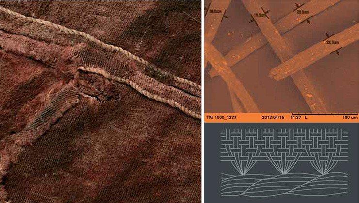 С помощью сканирующей электронной микроскопии фрагмента ноговиц удалось изучить волокна, из?которых была выткана ткань. Оказалось, что это довольно тонкая беспримесная шерсть с толщиной волокон около 21 мкм. Фото Е. Карповой (НИОХ СО РАН, Новосибирск). Типичное окончание шерстяной ткани из?Пальмиры – завершающий кордшнур, образовано подворачиванием оставшихся нитей основы в окончании текстильного полотна в виде рубчатого жгута слева направо (схема справа внизу). Каждый виток жгута образован несколькими нитями основы, причем на каждом новом витке к ним добавляются новые нити. Так как полотно имеет большую плотность по утку, нити основы в структуре полотна не видны, однако в окончании полотна они образуют жгутик более светлого цвета. Это создает ложное впечатление, что рубчик не связан с самим полотном. Жгутик на ткани изготавливался после снятия полотна со станка, когда остатки основных нитей были уже освобождены и ровно подрезаны. Сам жгутик безупречно ровный, несмотря на то что на разных участках полотна он мог формироваться из разного числа нитей. Такого результата можно достичь, если использовать недлинные нити (исследование специалиста по текстильным технологиям древности и?средневековья д. и. н. Т. Н.?Глушковой)