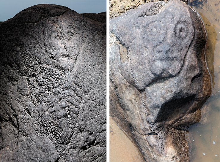 Left: the faces of this most amazing stone at the Sikachi-Alyan sanctuary are covered with various images, including a human protoma with a rib cage. This image is an example of the so-called X-ray style. This and other similar images are associated with the mythologem of the acquisition of shamanic gift. A. Pakhunov © IA RAS. On the right: when archaeologists began their studies at the Amur River, this expressive lichina, an amazing piece of the artistic heritage left by the ancient cultures of the Lower Amur, was only sketched by Mikhail Okladnikov from the descriptions given by local residents. The lichina itself was discovered only in the 2000s when the sand, which keeps covering the ancient image time and time again, had been cleared away. I. Georgievsky © IA RAS
