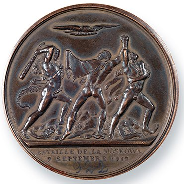 """The Battle for Moscow"" medal was presented by D. G. Burylin at the War of 1812 exhibition in Moscow at the Emperor's Russian Historical Museum. The head of the coin has an inscription in French «NAPOLEON EMPEREUR ET ROI» (The Emperor and king Napoleon) and on the reverse side under the cut ""BATTAILLE DE LA MOSCOWA // 7 SEPTEMBRE 1812"" (The Battle for Moscow 7 September, 1812). France. The beginning of the 19th c. Portrait medalist Jean-Pierre Droz (1740—1823). Bronze. Length 55.5 mm"