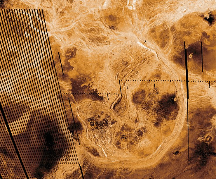 Artemis Corona is, presumably, the center of the largest radial system of fractures and dikes on Venus with a diameter of 12,000 km. Credit: NASA/JPL