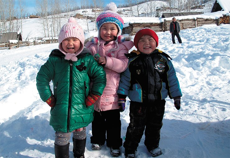 Children from the village of Ak-Khaba, situated 20 kilometers from the border between China and Kazakhstan