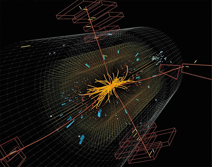 One of events in which the Higgs boson is assumed to be decomposing into four muons (red lines) with high energies. © 2012 CERN.