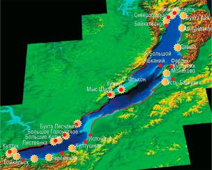 Экспедиция ЛИН СОРАН в сентябре 2014 г. показала, что спирогира распространилась вприбрежной зоне вмасштабах почти всего озера (звездочками обозначены места массового развития спирогиры). Проще назвать участки, где эта водоросль пока необнаружена: Ушканьи о-ва, большая часть о.Ольхон (заисключением пос.Хужир ибухты Перевозная), а также часть западного побережья отм.Елохин до начала Малого моря ( красной линией обозначены пока не исследованные участки побережья)
