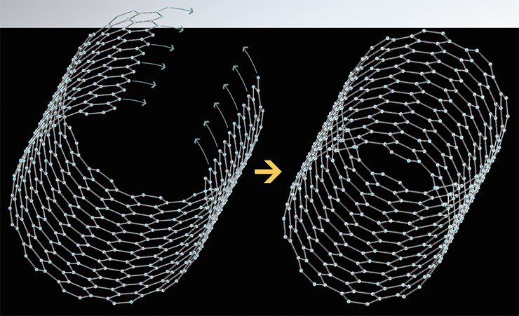 An ideal carbon nanotube can be represented by a cylinder formed by folding a graphite (or graphene) band. The diameter of the cylinder is usually in the order of tens of nanometers, while its length can exceed 10 µm. The surface of this cylinder consists of a network of hexagonal cells formed by carbon atoms. The ends of the cylinder can be either open or closed by semispherical or polyhedral heads