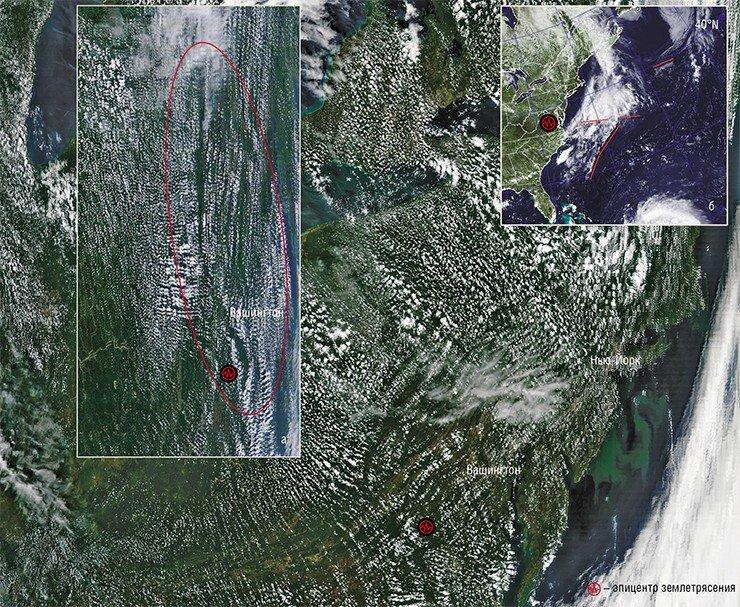 За сутки до землетрясения 23 августа в США над штатом Вирджиния образовалась «сетка» из облачных полос. На ее фоне выделялись два более широких каньона, соединяющихся под углом (а). Пару часов спустя каньоны исчезли, но сетчатая структура облаков сохранялась и далее в течение некоторого времени. Фото сделаны с ИСЗ Terra и Aqua (NASA/GSFC, Rapid Response) 22 августа 2011 г. Одновременно линейные облачные аномалии появлялись и над разломами дна Атлантического океана (б) (Naval Research Laboratory, Marine Meteorology Division, Monterey, CA)