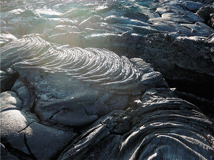 Flowing basalt lava forms fantastic shapes. Photo by author