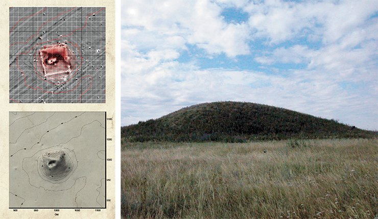 Large tumulus Barsuchy Log (Middle Yenisei).  Appearance, the results of geophysical prospecting, and a three-dimensional model of the kurgan
