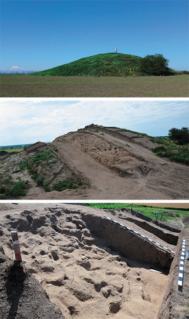 Top: the Marpha mound (Central Ciscaucasia) before excavation. The Mapha mound's adobe construction made of clay blocks. Bottom: Details of the clay blocks of the Mapha mound