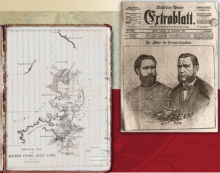 Left: map of the Franz Josef Land Archipelago, drawn by its discoverer Julius von Payer. Nansen, Fridtjof: Farthest North, Vol. II, Constable & Co, London, 1897. On the right: Cover of the illustrated magazine Illustrirtes Wiener Extrablatt (25 September 1874) with portraits of Julius von Payer (left) and Karl Veyprahta (right). Source: Stadtchronik Wien, Verlag Christian Brandstätter, S. 320. Public domain