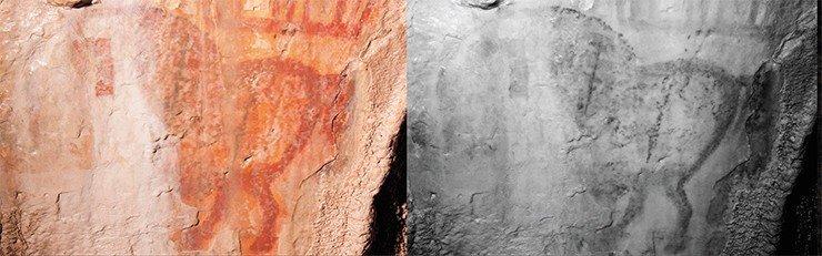 Изображение лошади из Зала Хаоса. Съемка ввидимых лучах и отраженном инфракрасном свете может свидетельствовать оподновлении изображения. А. Пахунов © ИА РАН