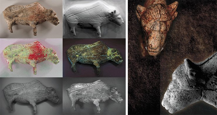 A unique figurine of a female bison made from mammoth ivory. Found at Zaraysk (Moscow Oblast). The results of multispectral imaging of the bison figurine from Zaraysk in the infrared and visible ranges showed that the black marks appeared after the image was forever hidden in the cache. A. Pakhunov © IA RAS