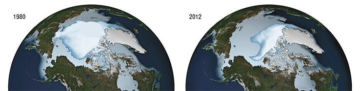 Water areas covered by Arctic ice in 1980 and 2012. Credit: NASA/Goddard Scientific Visualization Studio