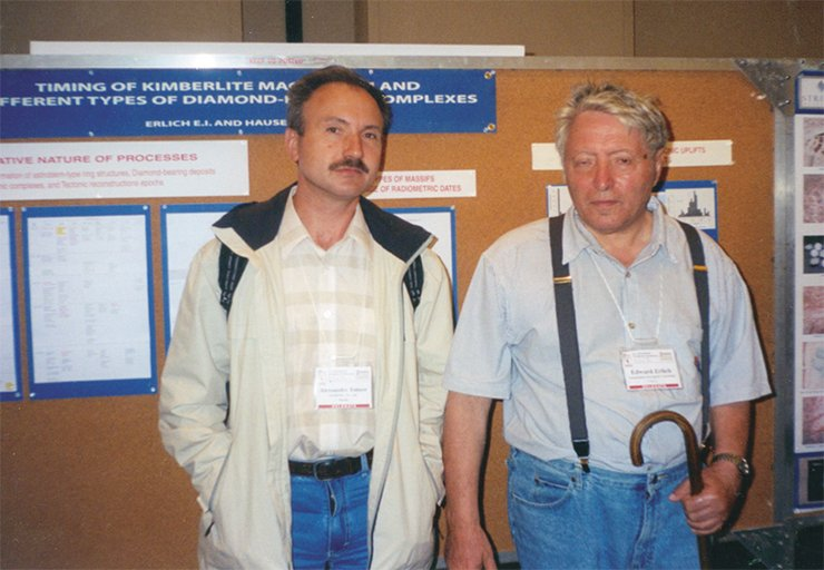 Tomtor sworn brothers: International Kimberlite conference, Victoria, British Columbia, Canada, 2003. Left: A.V. Tolstov. Right: E.N. Erlich. Photo from A. Tolstov's archive