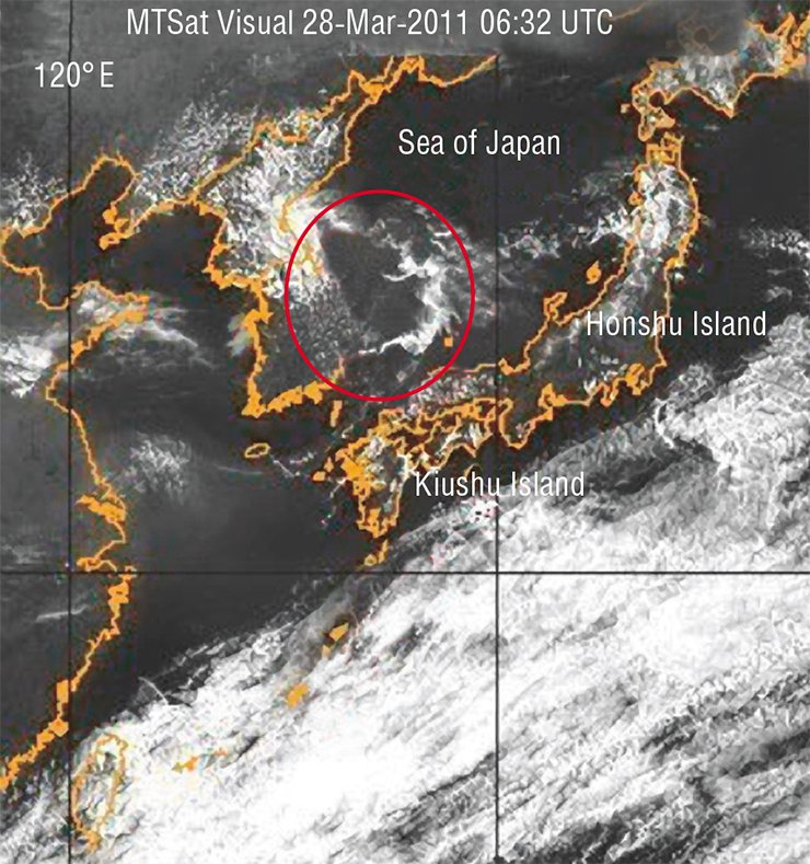 "A cloud of unusual configuration hung over Sea of Japan for three hours. This ""earthquake cloudiness"" resulted from an emission of fluids from the depths. At the same time, a linear anomaly appeared over the small islands southward of Kiushu. The photo taken from the geostationary satellite NASA on March 28, 2011. (Naval Research Laboratory, Marine Meteorology Division, Monterey, CA)"