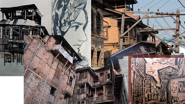 В Шринагаре сохранились старинные дома. Их рисует Саба Алтаф (вверху – автопортрет), одна из студенток, посещавшая наши занятия по археологическому рисунку. Она создает новые образы старого города. После получения степени бакалавра бизнес-администрирования художница снова поступила в университет, но уже на факультет изобразительного искусства: «Я рисую, когда хочу выразить свои чувства. Искусство помогает мне становиться лучше»