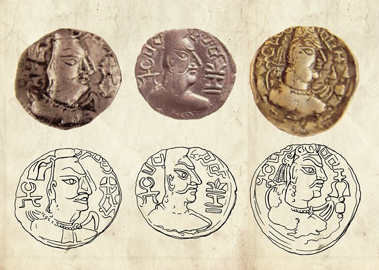 Coins of the Hephthalites (Mehama, ruler of the Huna-Alchon, 461–493 AD) and their drawings