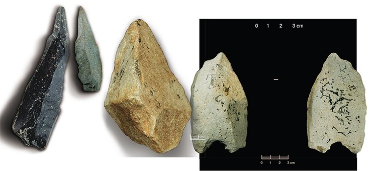 Hunting equipment of primitive inhabitants of the Anui Valley (left). Photo by V. Kavelin. Archaic pebble tool from the site Karama (center). A very ancient point from Karama (right). Photo by V. Kavelin