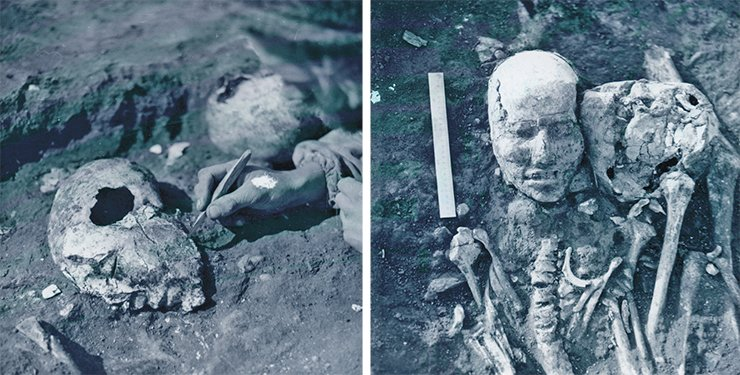This is how the clayed skulls found in the Tesinsk crypt looked. Burial at the Novyie Mochagi kurgan (Minusinsk Hollow), 1983. Photographed and excavated by N. Yu. Kuzmin