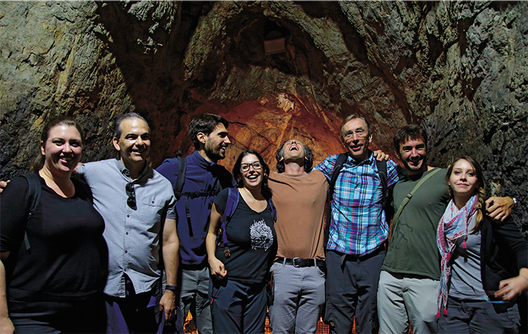 Excursion in Denisova Cave. Center: Viviane Slon, a paleogeneticist from Prof. S. Pääbo's laboratory. Her presentation was devoted to the sensational results of Denisova-11 DNA sequencing. Altai Mountains, 2018
