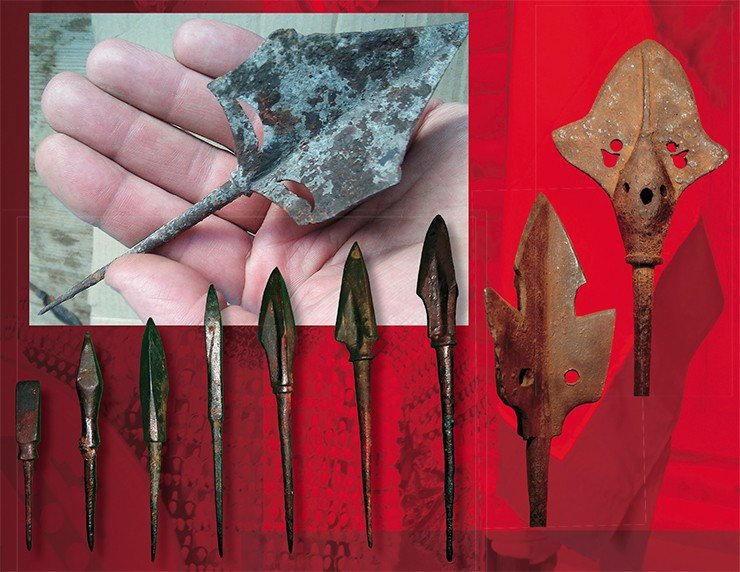 Arrowheads typical of the Yenisei Kyrgyz culture: three-bladed, with a whistle, and armor-piercing. Finds from Khakassia. NSU Museum. Photo by the author