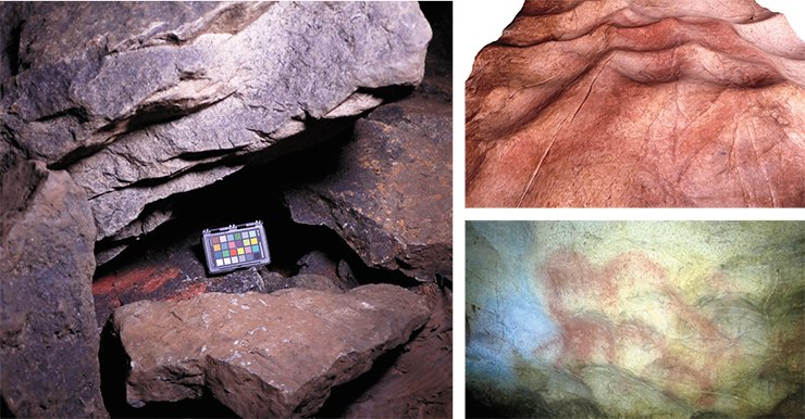 Archaeologists discovered many caches with ready-made red pigment in Kapova Cave (left). These hoards were found mostly between stones piled on the floor in the Hall of Chaos as a result of a collapse of the cave arch. A. Pakhunov. A painted image of a mammoth was made using the natural relief (bottom). A photogrammetric model of a part of the vertical wall with this image (top). E. Devlet and A. Pakhunov © IA RAS