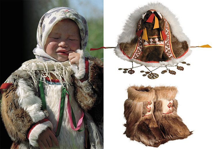 A girl in traditional clothes. Voen-to camp. Girl's hood (top, right). Girl's winter boots (bottom, right)