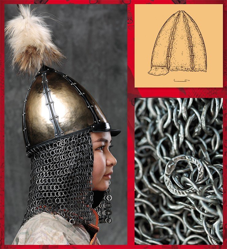 "Scholarly historical reconstruction of the helmet of a 17th–18th century Yenisei Kyrgyz warrior (left), based on an accidental find of a helmet dome and a fragment of mail weaving in Khakassia. Photo by A. Bolzhurov. Dome of a Yenisei Kyrgyz helmet (top right) found in the Minusinsk Basin (Khakassia). Drawing by Yu. Khudyakov. Martyanov Minusinsk Regional Museum of Local History, Russia. Fragment of mail armor of the 17th–18th century (bottom right), found in the Kosh-Agach district (Altai Mountains). Center: the so-called ""master's ring,"" the trademark of the armorer or the mark of the owner. Novosibirsk State Museum of Local History. Photo by the author"