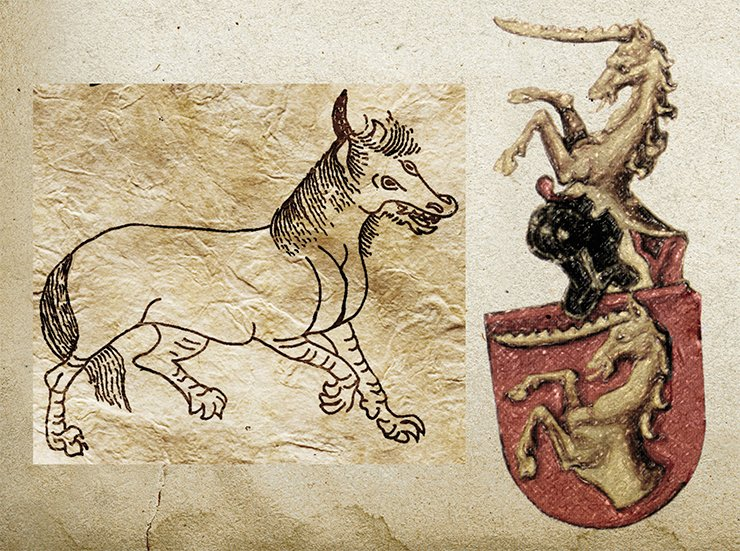 Left: the Chinese predator unicorn Bau from Shan-hai Ching. Bau had the teeth and the claws of a tiger. From: (Terentiev-Katanskiy, 2004). On right: animalistic coat of arms from Conrad Gruneberg's Book of Heraldry. The unicorn is depicted with legs of a buffalo and a big horn above the forehead. Late 15th c. From: (Pastoureau M. Heraldry, 2003)