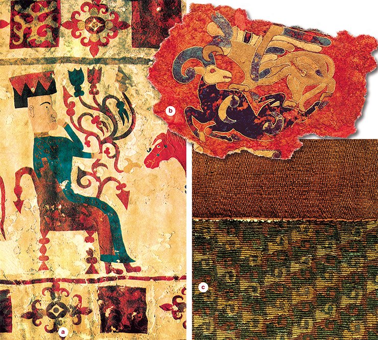 а — fragment of a felt carpet (Fifth Pazyryk Burial Mound); b — applique on a felt carpet for the saddle (Second Pazyryk Burial Mound); c — fragment of a woolen skirt (Second Pazyryk Burial Mound). State Hermitage. Excavations by S. Rudenko