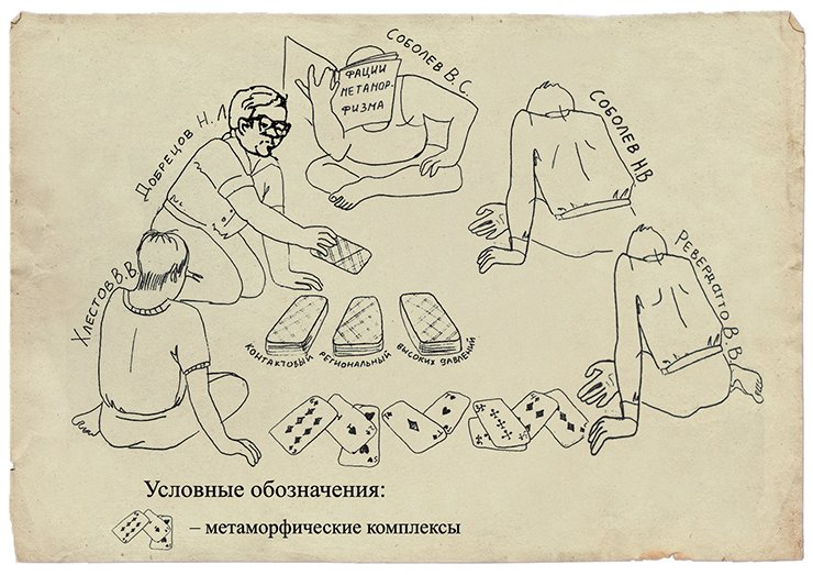 "A comic portrait showing the Lenin Prize winners. A drawing from an unpublished article by E. V. Sklyarov, ""N. L. Dobretsov and the Tectonic Aspects of Metamorphism."""