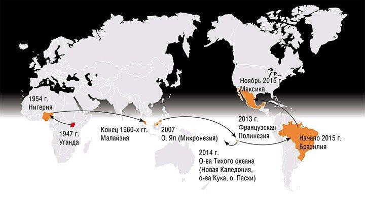 Со времени открытия вируса Зика в 1947 г. отмечались лишь эпизодические случаи заражения им людей в странах Африки и Азии, и только в 2007 г. эпидемия лихорадки Зика охватила 5 тыс. человек на островах Микронезии. По: (Musso, Gubler, 2016)