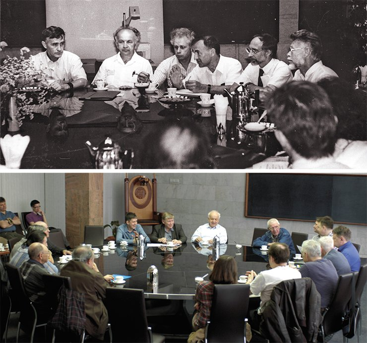 Round table at the INP SB RAS: discussion of the project to design a free-electron laser for photochemical studies in 1989 (top) and discussion of a new bright synchrotron radiation source project in 2015